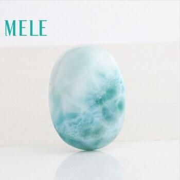 Natural larimar stone pendant, 7.56 gram, egg shape in 20mm*27.5mm, wathet color, rare stone pandant, treasure gift