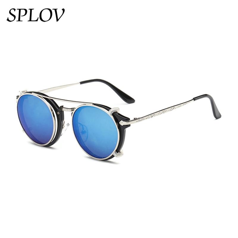 Модные Винтажные паровые круглые солнцезащитные очки в стиле панк, мужские и женские двухслойные съемные линзы, ретро очки с вырезами, UV400