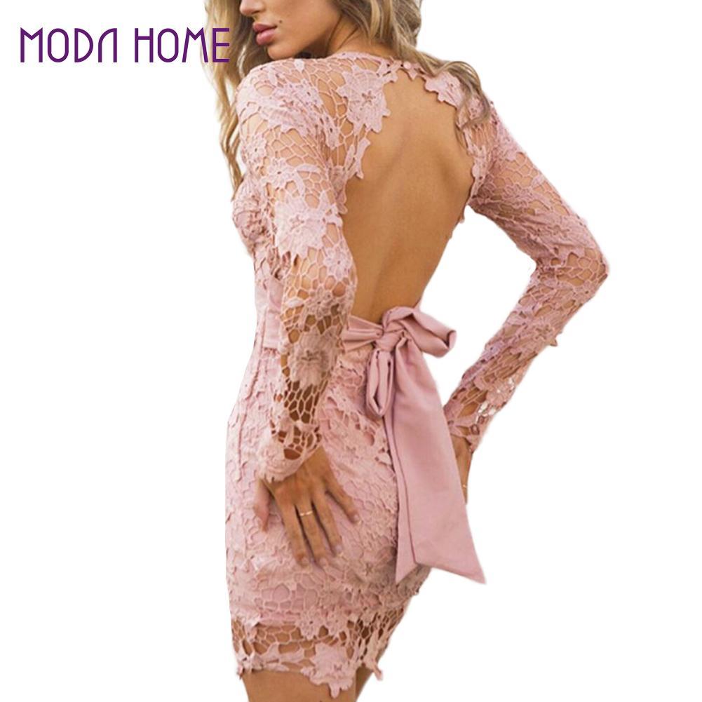 Backless Lace Dress Vintage Long Sleeve Crochet Pink