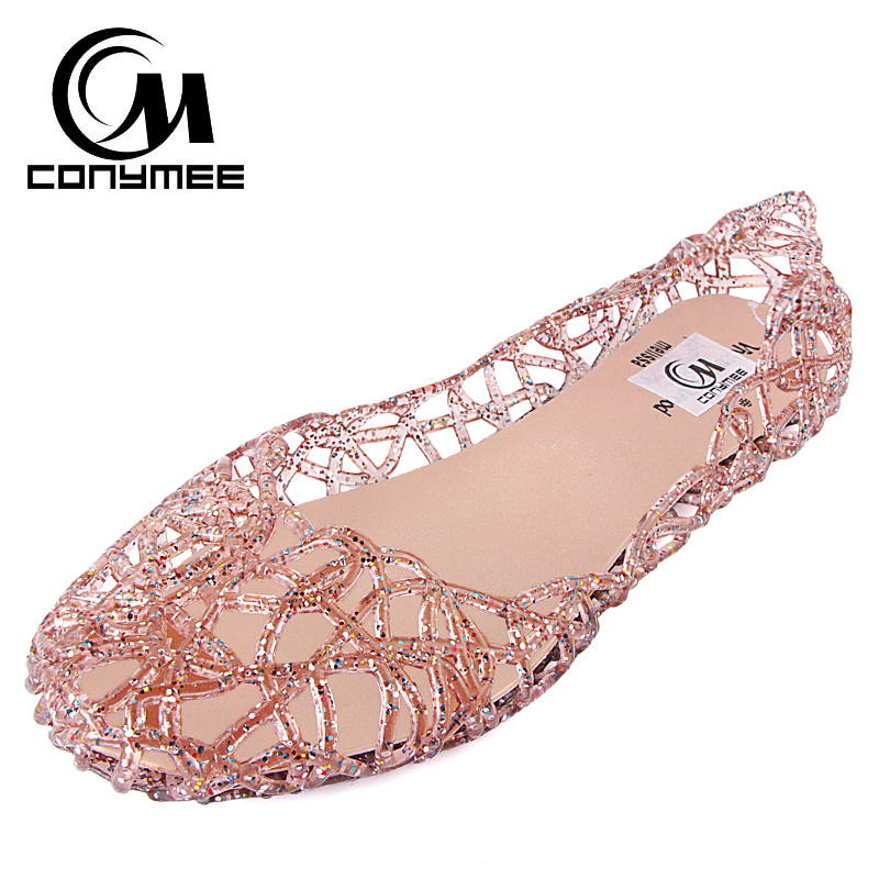 Woman Shoes 2018 Summer Sandals Hollow Out Casual Jelly Shoes Fashion Sandals Crystal Lady Girl Flats Zapatos Mujer Big Size new breathable crystal jelly net shoes bird nest woman sandals summer casual fashion shoes