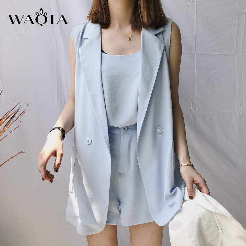 2018 Women Summer two piece set /3 piece set Casual waistcoat Feminine Female Office Suit Set Women's Costumes Hot Short Sets