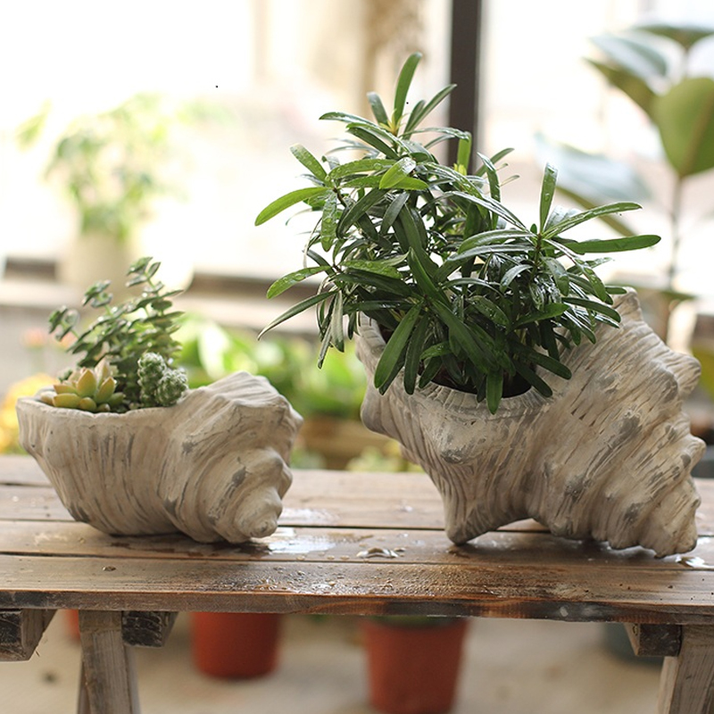 Garden conch Stone Imitation Handmade small flower vase crafts flowerpot ceramic plants potted vases home Decoration Gift in Vases from Home Garden