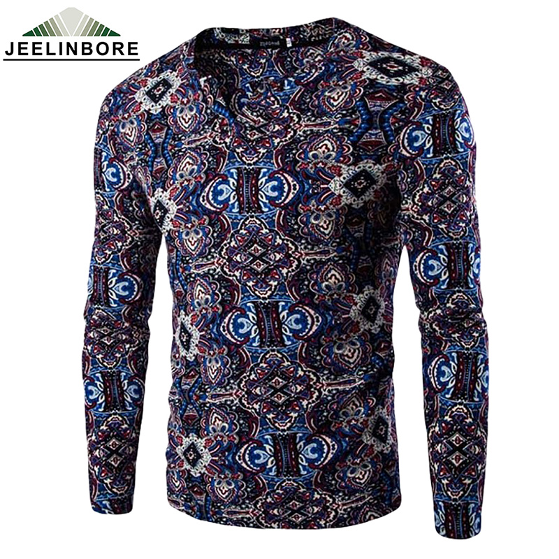 2016 fashion men 39 s t shirt v neck ethnic style floral for Mens printed long sleeve shirts