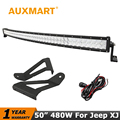 Auxmart CREE Chips 5D Curved 50 inch 480W LED Light Bar For Jeep XJ Cherokee 1984 - 2001 Offroad Driving Light Mounts Bracket