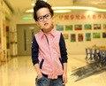 Бесплатные доставка весна/осень детская одежда мальчик полосатой рубашке мальчик куртка дети clothing
