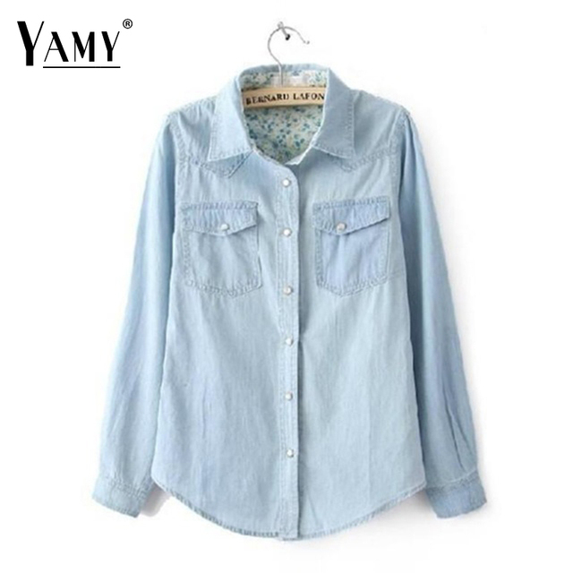Marca de moda senhoras denim camisa mulheres blusas plus size manga comprida de algodão casual calça jeans blusa mulheres clothing 2016 novo