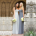 Honey Qiao 2016 Beach Bridesmaid Dresses Grey Chiffon Sweetheart Strapless Ruffle Floor length Pleats Maid of Honor Gowns