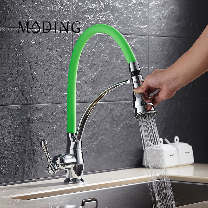 MODING Kitchen Faucet Pull Out Chrome Cast 360 Degree Rotating Cold And Hot LED Kitchen Taps