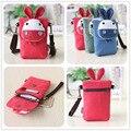 Cute fashion Donkey monkey carton  handbag Crossbody Bag 6 inch mobile phone cartoon art canvas bag hand bags blue red bags