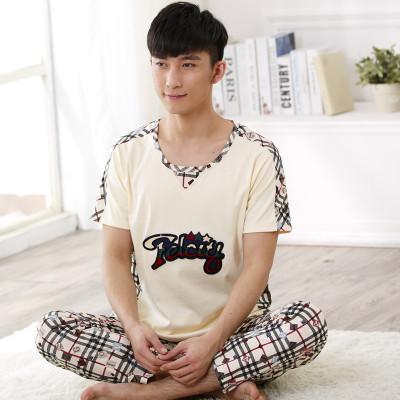 Homens de Pijama de Algodão Sleepwear Conjunto Sono Bottoms desgaste de lazer Calças Compridas de Pijama T Undershirts Marca Casual Manga Curta