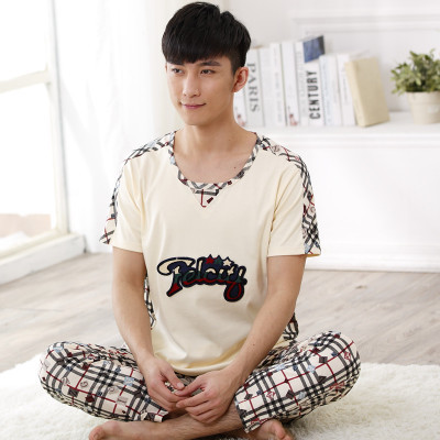 Men Cotton Pajama Set Sleepwear Sleep Bottoms leisure wear Long Pants Pajama Tees Undershirts Brand Casual Short Sleeve