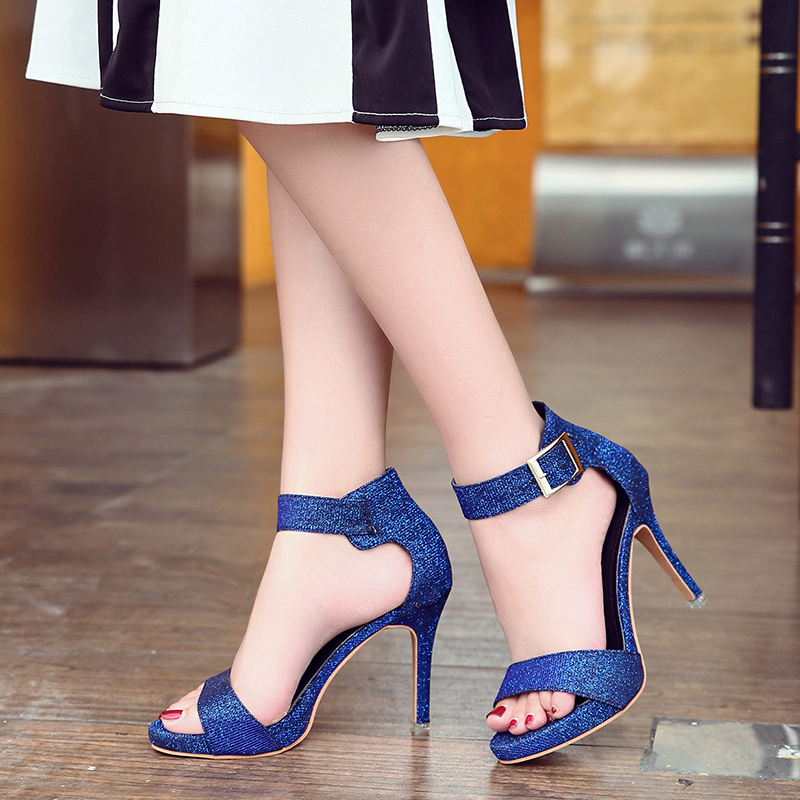 Lucyever 2018 Summer Women Rome Style Denim Gladiator Sandals Open Toe Buckle Strap Thin High Heels Shoes Woman High Quality цены