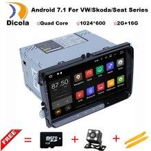 2 Din 9 pulgadas Quad core Android 7.1 del coche dvd GPS para VW Polo Jetta Tiguan passat b6 cc fabia espejo enlace wifi Radio CD en dash