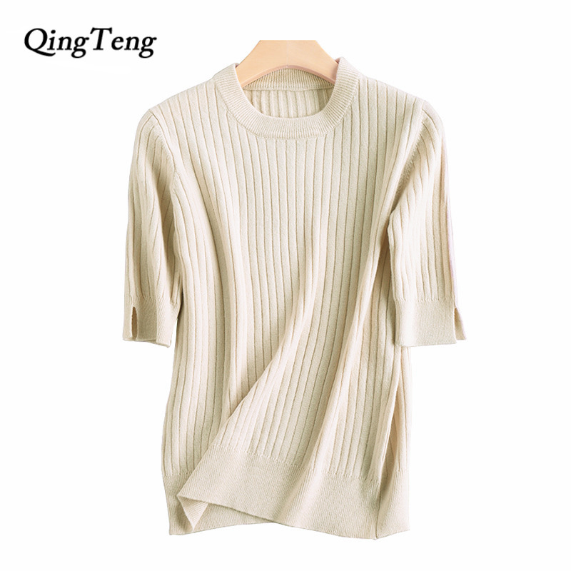 2018 New Women Sweaters And Pullovers Cashmere Short Sleeve Knitted