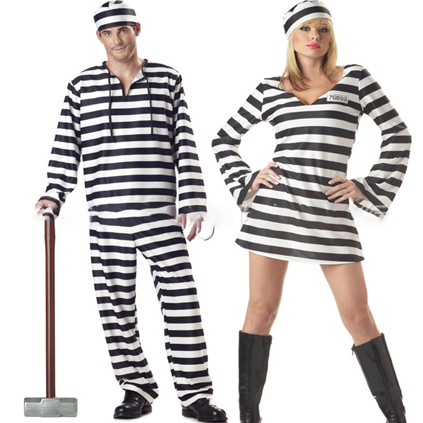 Halloween Dress for Women Lovers Horror Bloody Zombie Men Clothes Prisoner Disguise Carnival Masquerade Stripe Scary Costumes