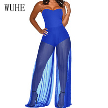 WUHE Women Elegant Loose Long Jumpsuit New Fashion Summer Sexy Sleeveless Patchwork Sheer Mesh Playsuit Celebrity Club Romper