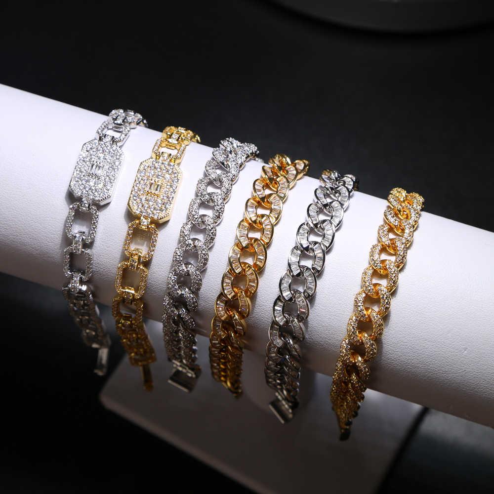 17cm mężczyźni kobiety cyrkon Curb kubański Link bransoletka Hip hop biżuteria złoto srebro grube ciężkie miedzi materiał mrożona CZ bransoletki i łańcuszki na rękę