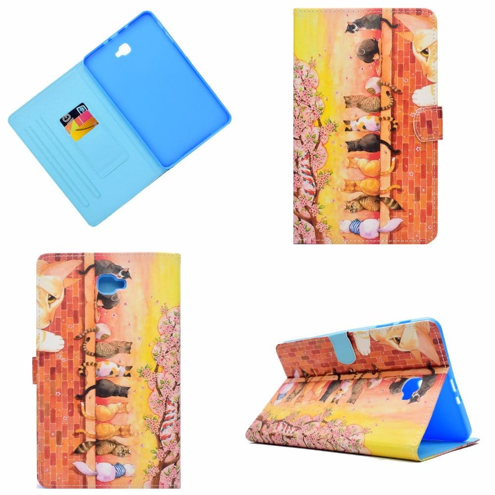 For Samsung Galaxy Tab A A6 10.1 2016 SM-T580 Case, Printing Smart Cover Case For Samsung Tab A 10.1 T585 T580 funda Sleep/Wake