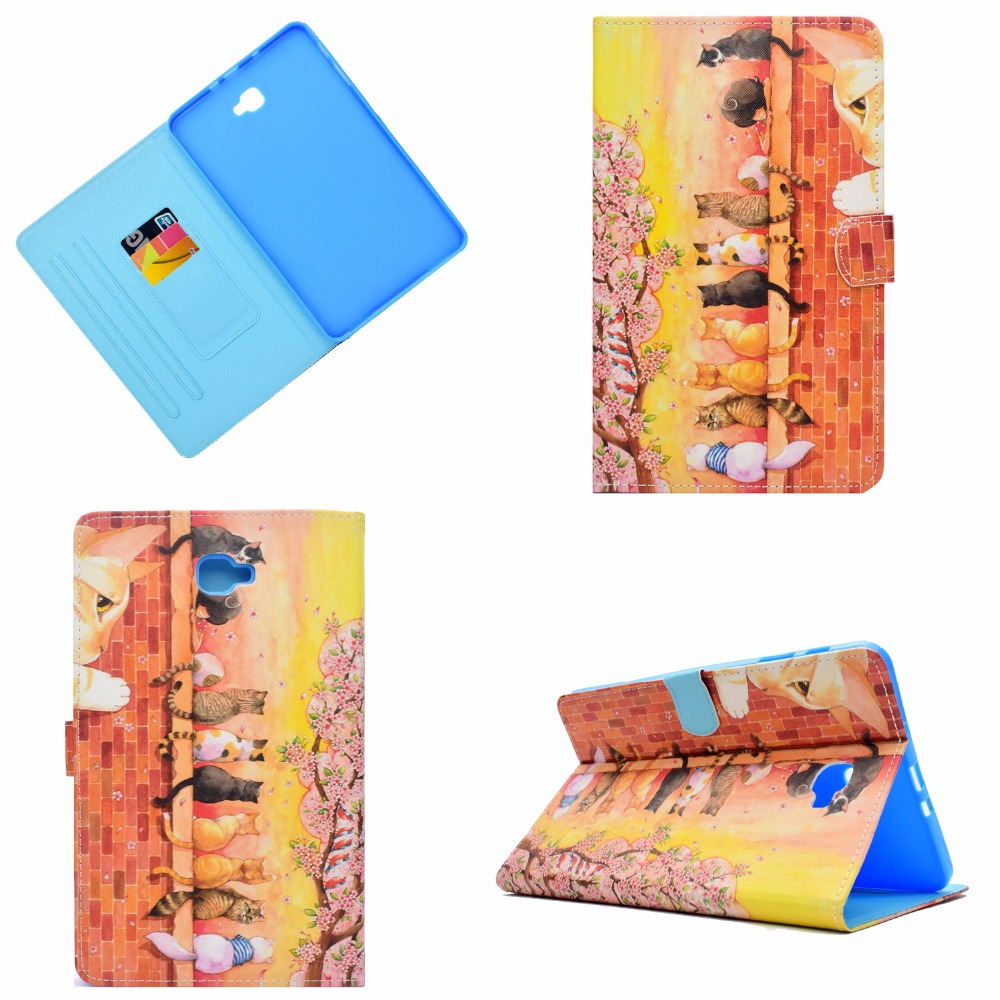 For Samsung Galaxy Tab A A6 10.1 2016 SM-T580 Case, Printing Smart Cover Case For Samsung Tab A 10.1 T585 T580 funda Sleep/Wake