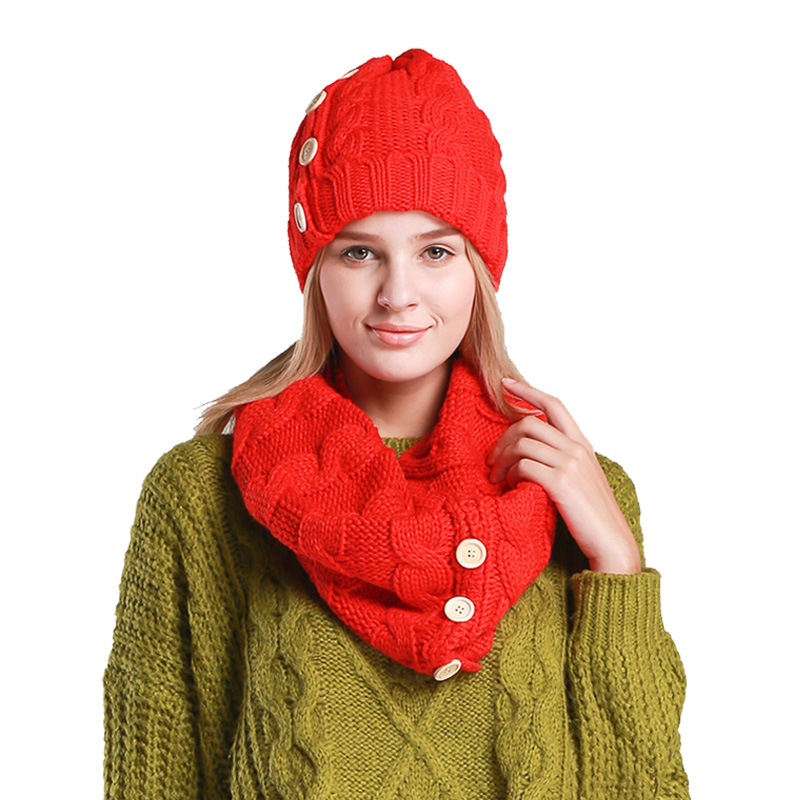 Winter 2/Set  Women's Scarves Hats Red/Black/White LIC Scarf For Women Fashion Button Beanie For Girl O-Ring Scarf Lady Warm Cap