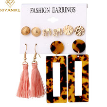 XIYANIKE 6Pairs/set Gold Color Vintage Leopard Tassel Dangle Earrings Big Geometric For Women Wediing Party Ear Set Jewelry(China)