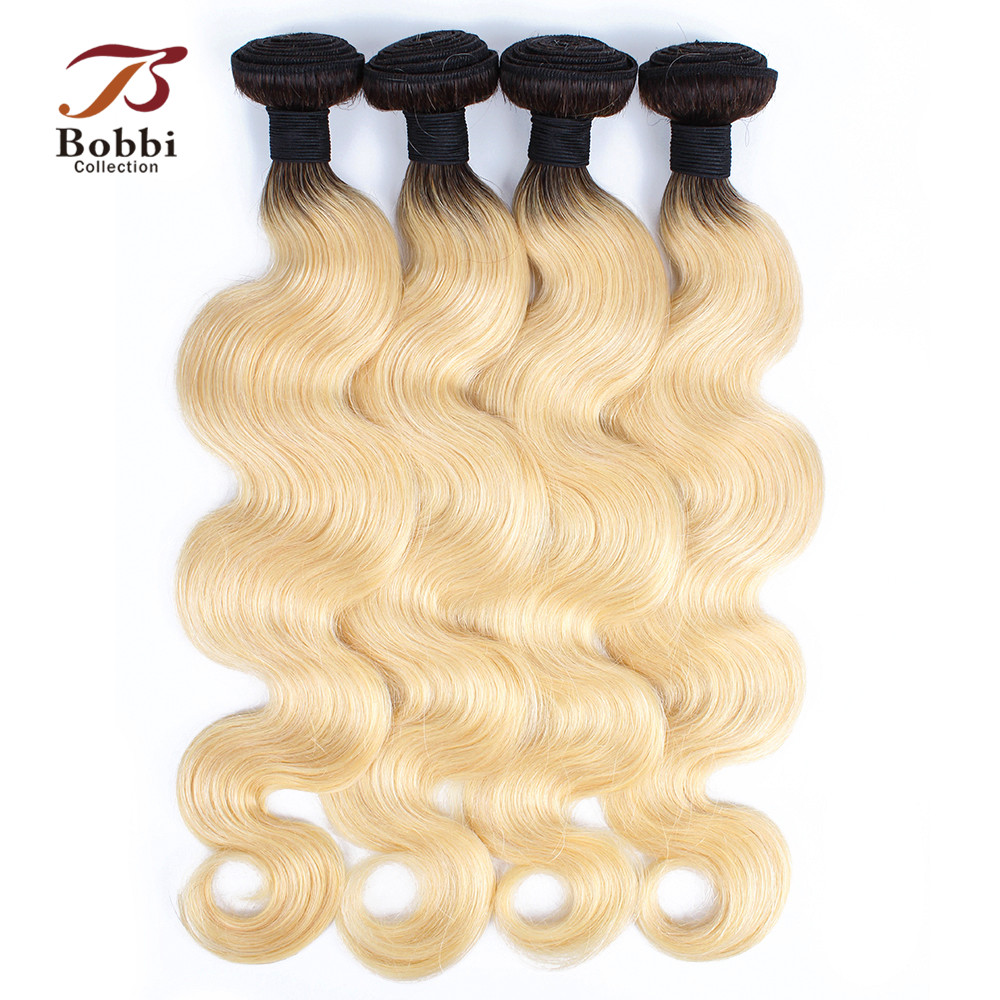 Bobbi Collection T 1B 613 Ombre Hair Weave Dark Root Platinum Blonde Indian Hair 3 4