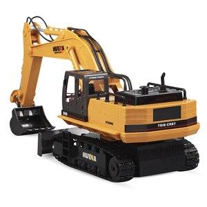 Image 2 - Huina 510 ワイヤレスリモコン合金ショベルシミュレーション子供充電電気おもちゃの掘削エンジニアリング車両モデル