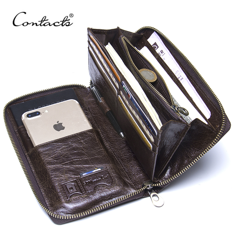 Contact's Cow Leather Men Casual Clutch Wallet Card Holder Zipper Purse With Passport Holder Phone Case For Male Long Wallet contacts cow leather men casual clutch wallet card holder zipper purse with passport holder phone case for male long wallet