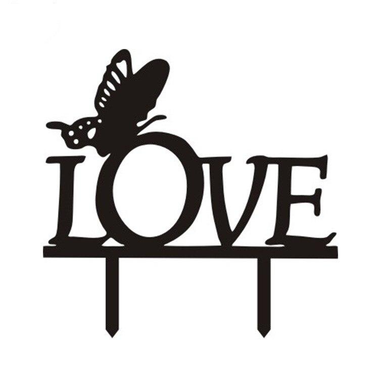 Akrylový dort vlajky Motýl láska dort Toppers Černá bílá na Valentýna Svatební & výročí zásnubní párty dekorace