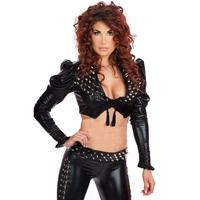 Steampunk Clothing Black Rivets Catsuits Women Long Sleeve Crop Top 2 PCS Leather Sets Bodycon Party Wear Push Up Jumpsuits XL