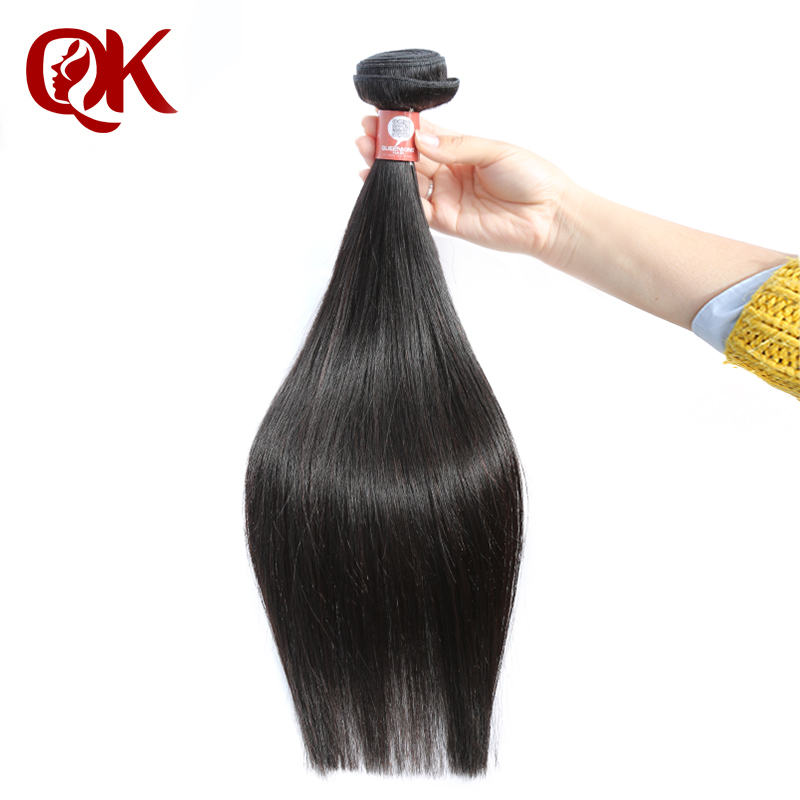 QueenKing Hair Peruvian Remy Hair Weft Silky Straight Nature Color 100% Human Hair Bundles Weave On 100 Grams Per Piece