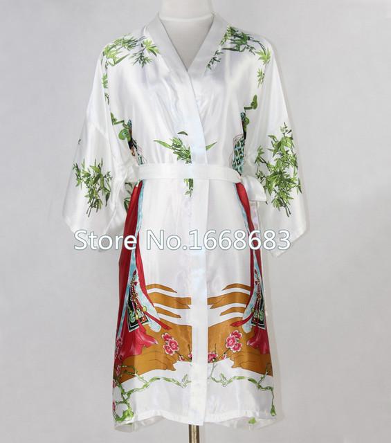 Blanco señora de la seda china Robe Gown Kimono corto atractivo Kaftan camisón impreso dormir Floral más el tamaño sml XL XXL XXXL NR034