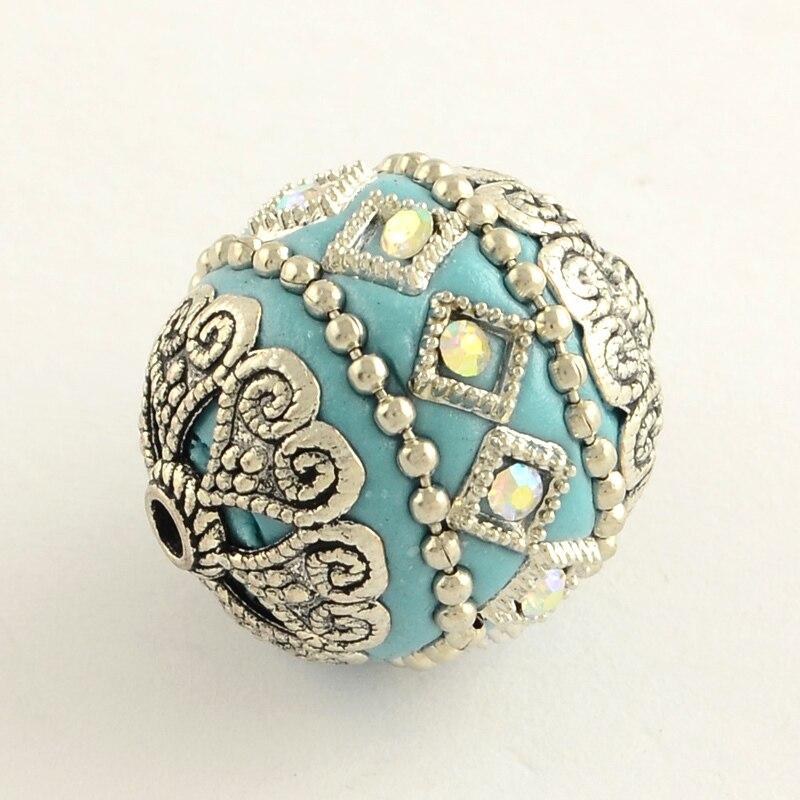 100 pièces 20mm ronde à la main strass indonésie perles avec des noyaux en alliage de ton d'or couleur mélangée bijoux à bricoler soi même Bracelets lMaking-in Perles from Bijoux et Accessoires    3