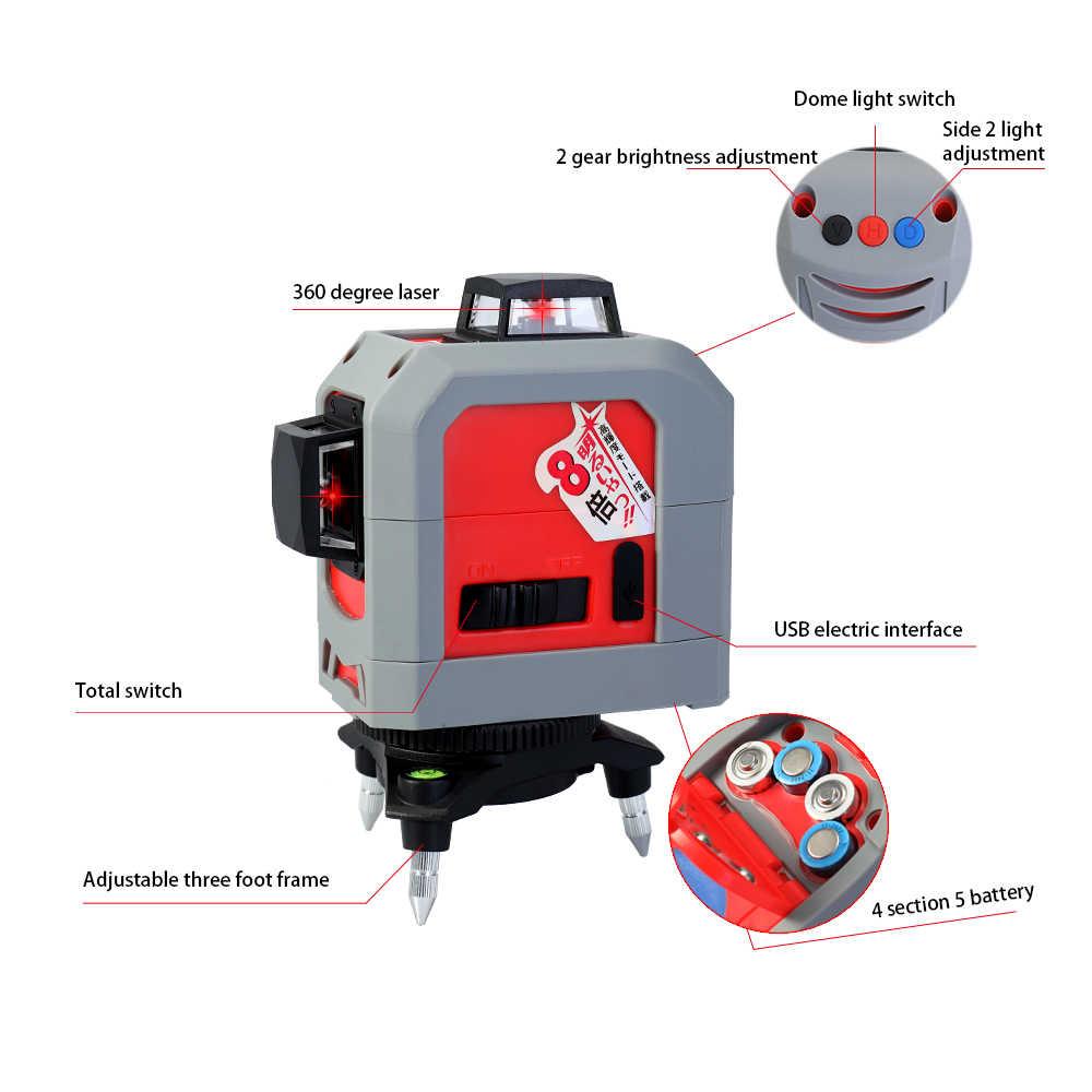Lazer seviyeleri 3D 12 satır lazer seviye 360 dikey ve yatay kendinden tesviye çapraz çizgi ışın nivel tesviye araçları aletleri