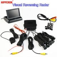 LCD Monitor + Rearview Camera Car Parking Sensor Kit 4 Sensors Buzzer 22mm Visual Reverse Radar Sound Alert Auto Assistance