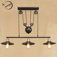 Loft retro Hanging black Pendant Lamps E27 LED pendant Lights adjustable vintage pulley for living Room restaurant bedroom