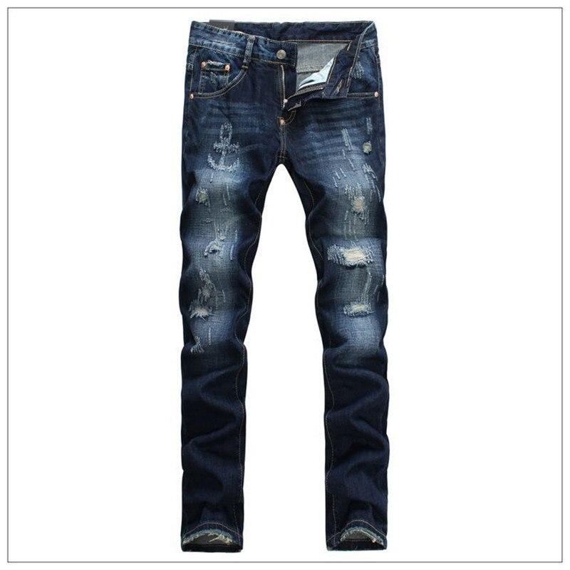 ФОТО Fashion Men Jeans High Quality D Distressed Small Feet Jeans Male European Micro Locomotive Embroidery Nightclub Pants Trousers