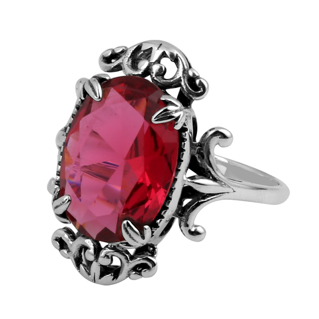 Szjinao Antiques 925 Jewelry Fashion Vintage Vitoria Women Red Ruby Rings Genuine 925 Sterling Silver Free Shipping
