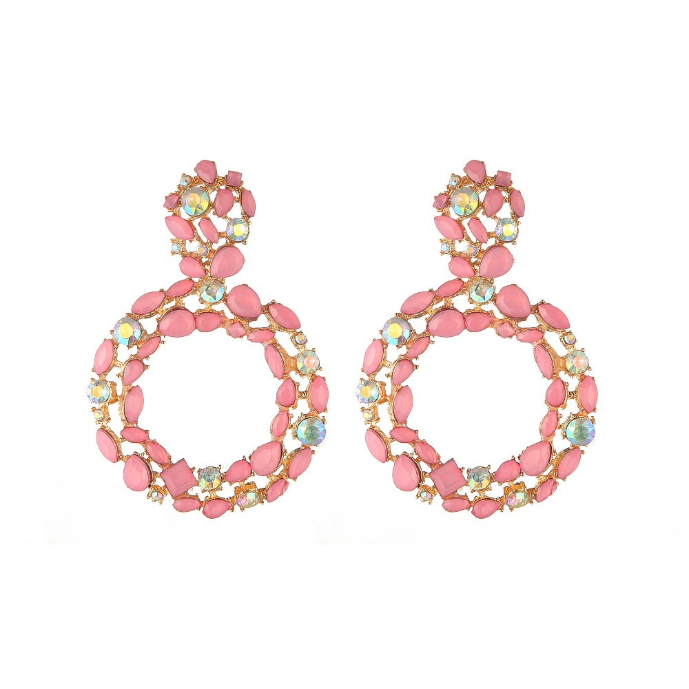 Round Rhinestone Statement Earrings 2019 Big Crystal Earrings For Women Large Circle Fashion Earing Luxury Party Evening Jewelry circle