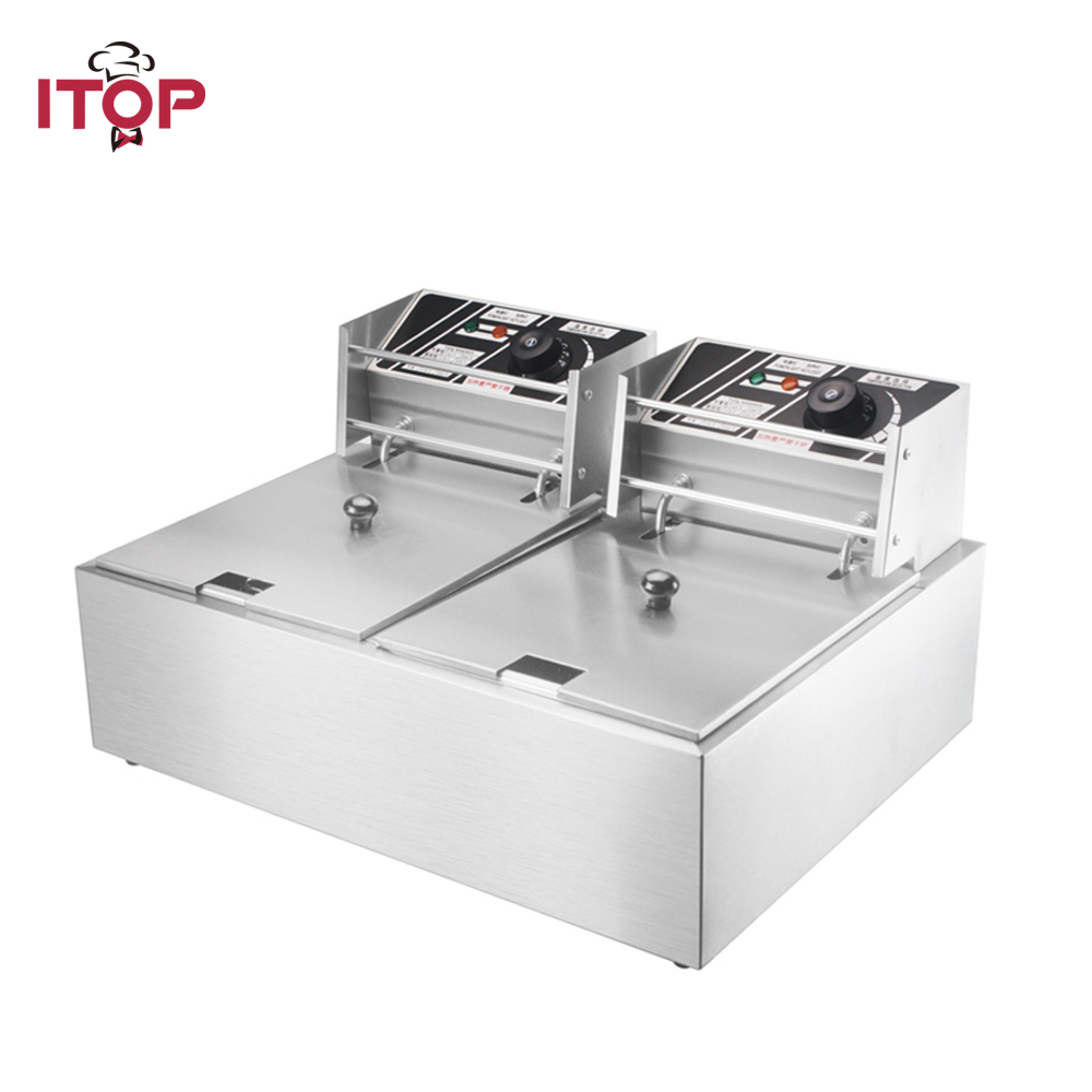 2 Tanks 16L Electric Deep Fryer Chicken Potato Chip Oil Fried Stainless Steel Frying Machine Commercial Or Household Fryer hy81 hy82 6l 12l stainless steel electric deep oil fryer potato chip fryer