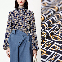 150CM Wide 240G/M Weight Chains Print Pink Dark Blue Polyester Fabric for Summer Spring Dress Jacket Pants DE1008