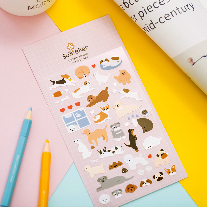 Cute Dog Decorative Stickers Scrapbooking Stick Label Diary Stationery Album Stickers