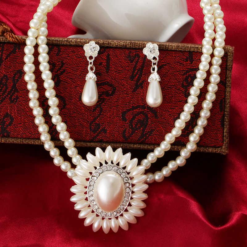 MINHIN Böhmen Imitation Perle Halskette Ohrringe Set Dubai Afrikanische Perlen Kostüm Acessories Frauen Braut Hochzeit Schmuck Sets