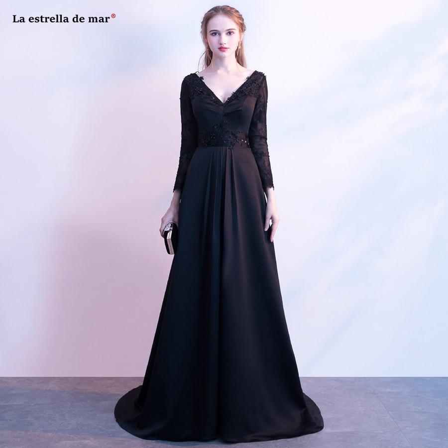Mère de la mariée robes 2019 nouveau sexy col en v licou dentelle satin manches longues robe de soirée noir serein colline pas cher avondjurk