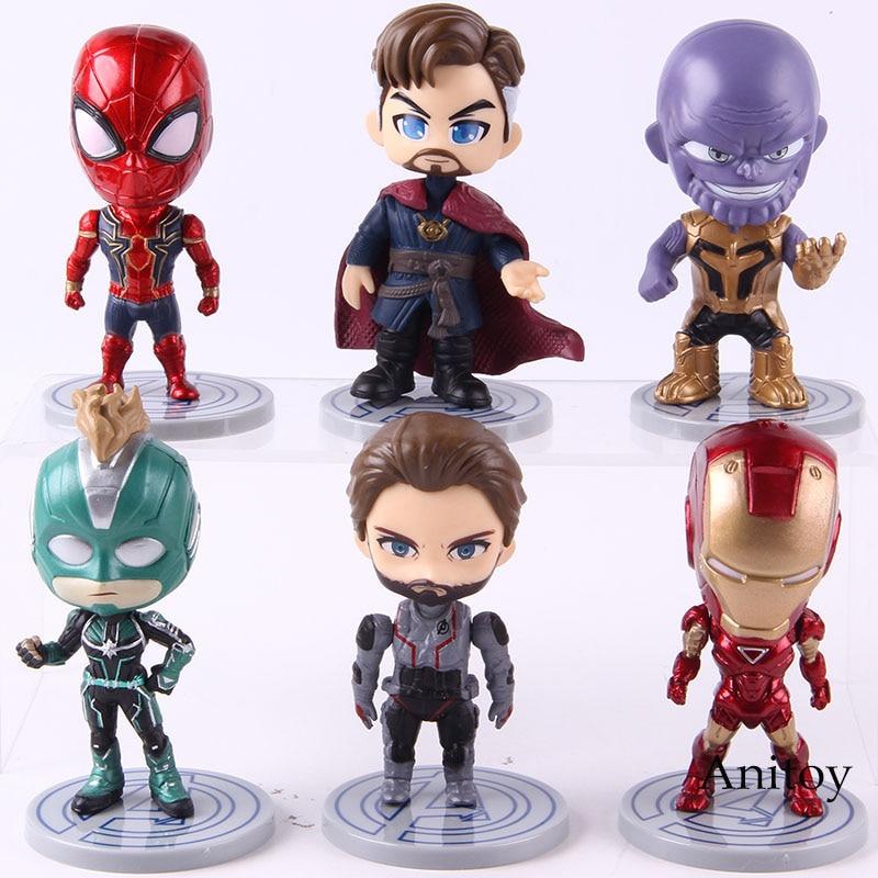 Avengers Endgame Figure Thanos Iron Man Captain America Spiderman Doctor Strange Captain Marvel Q Version PVC Toys 6pcs/set