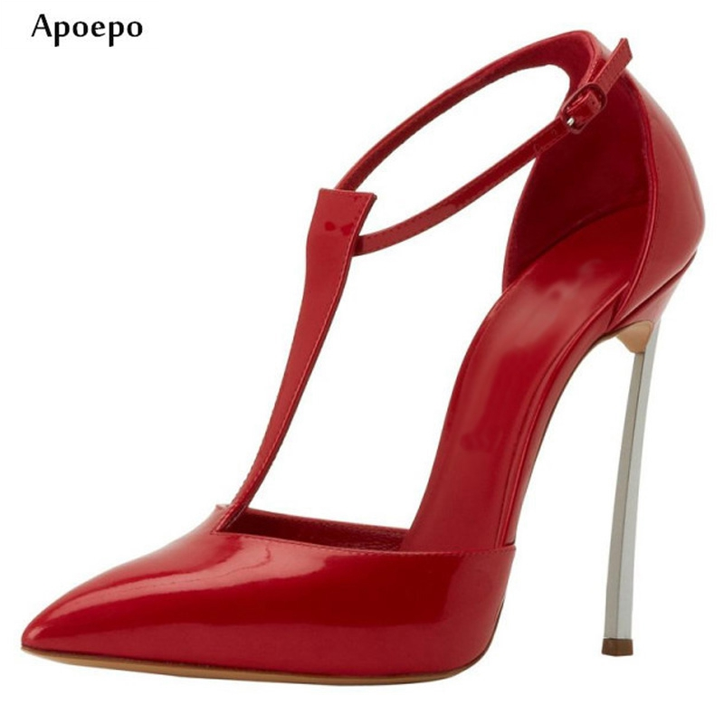 Apoepo Newest Sexy Thin Heels Woman Shoes 2018 Pointed Toe T-strap High Heels Patent Leather Cutouts Office Lady Pumps apoepo 2018 newest woman stilettos pumps sexy pointed toe slip on dress heels office lady thin heels shoes bling party shoes