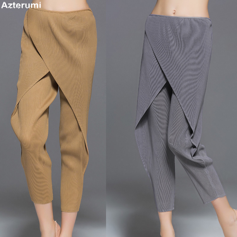 Issey Miyake Autumn 2018 Women Fashion Harem Pants Female Casual Loose Pleated Ankle Length Pant Woman Black Gray Khaki Trousers vgh high waist loose denim harem pants women black ankle length jeans pants big size female jean trousers casual clothing