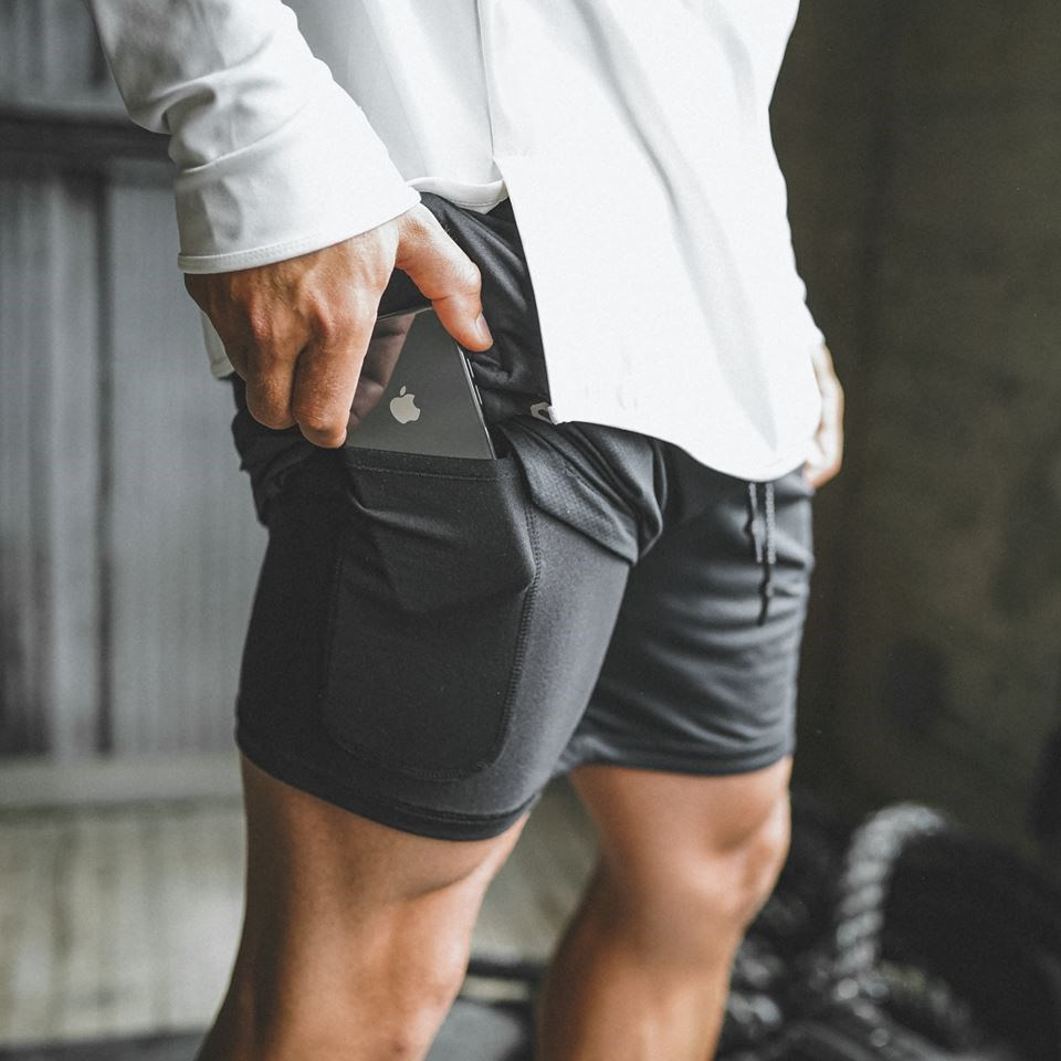 Cell Phone Pocket Pants Double Layer Running Shorts Camouflage Quick Drying Training Shorts Workout Jogging Fitness Gym Shorts
