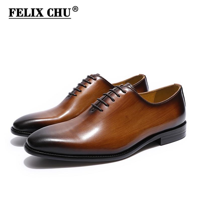 adaafbc6a92 FELIX CHU Zapatos de vestir de cuero genuino Oxford liso con punta holgada  de hombre Zapatos marrón negros pintados a mano Zapatos de hombre zapatos  ...