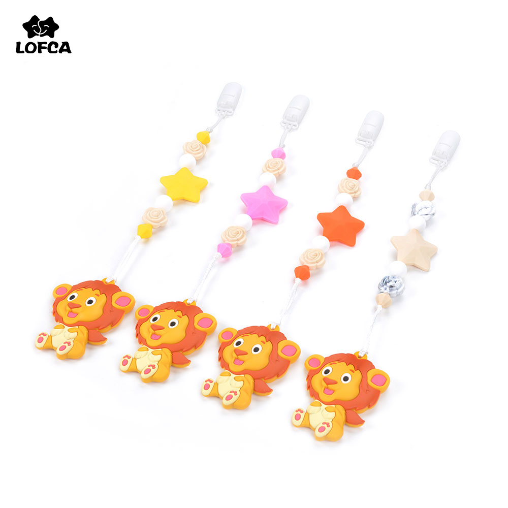 Silicone Teething Pacifier Clips Baby Carrier Lion Teether Pendant Clips Flower Beads Teething Toy Food Grade Chew Beads